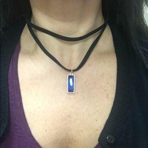 Women's Black Velvet Choker with Blue Stone!  📿